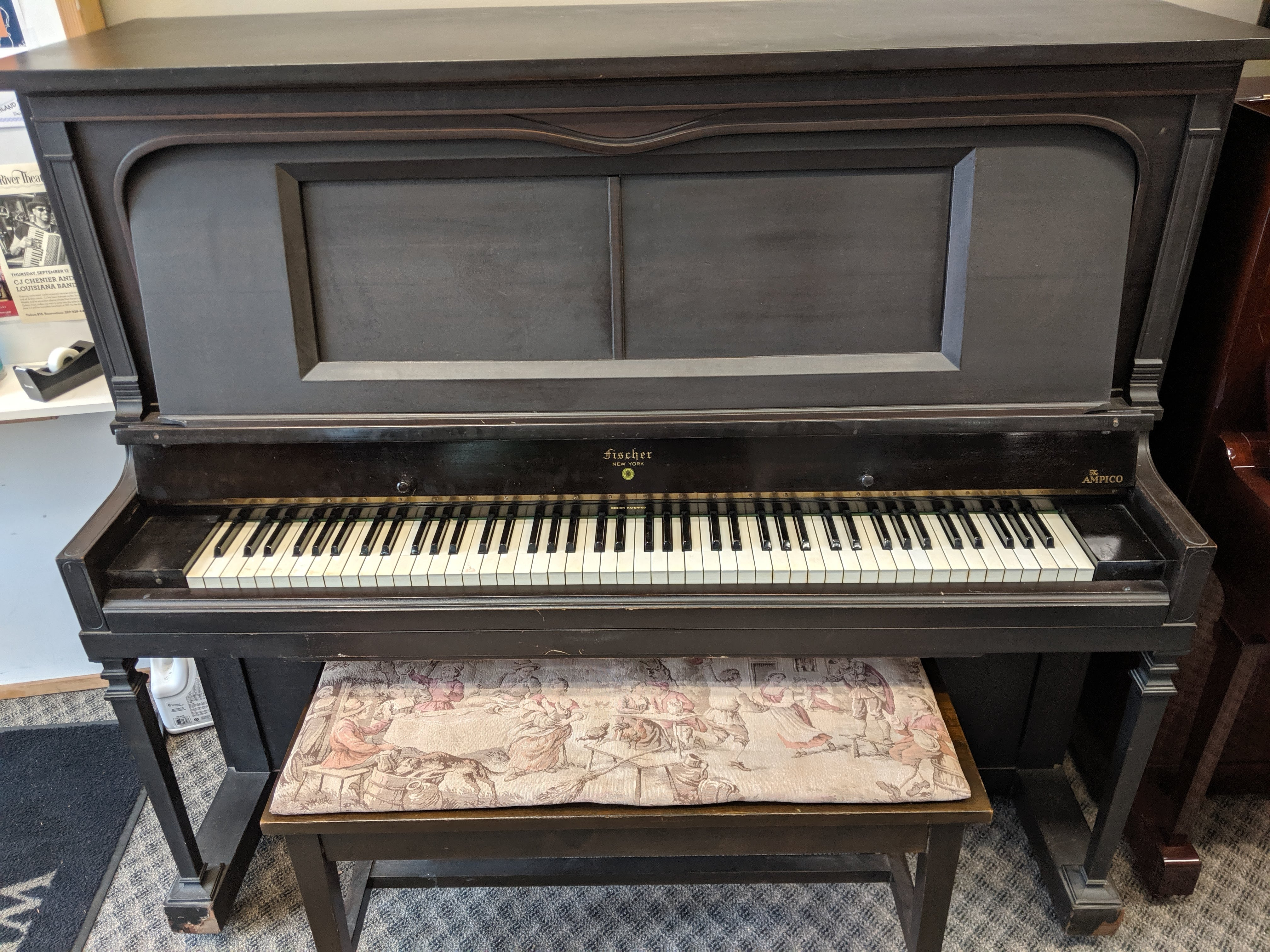 Fischer Vertical Piano with Ampico Reproducing Player